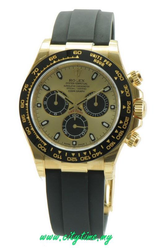 New Rolex Mens 18K Yellow Gold Daytona Ceramic Bezel 116518LN